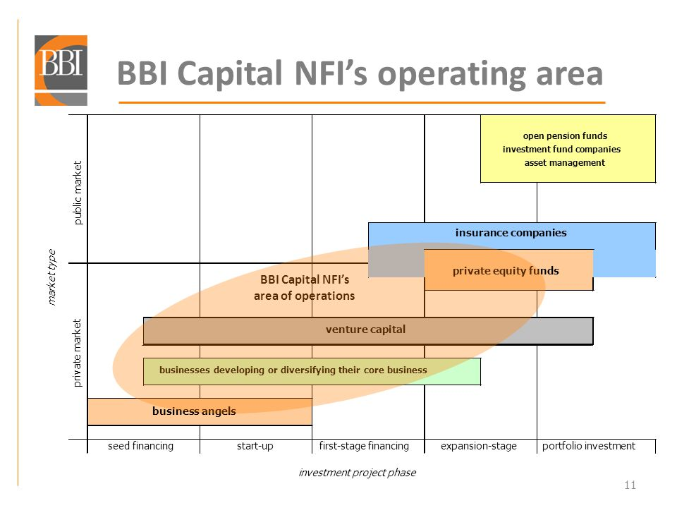11 BBI Capital NFIs operating area market type insurance companies venture capital businesses developing or diversifying theircore business business angels investment project phase portfolio investment private market public market open pension funds investment fund companies asset management seed financingstart-upfirst-stage financingexpansion-stage BBI Capital NFIs area of operations private equity funds