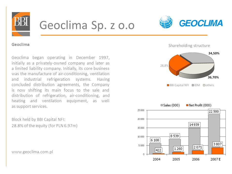 Geoclima Sp. z o.o Geoclima Geoclima began operating in December 1997, initially as a privately-owned company and later as a limited liability company
