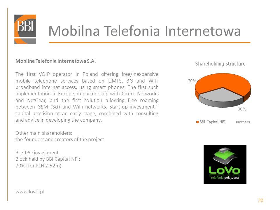 30 Mobilna Telefonia Internetowa Mobilna Telefonia Internetowa S.A. The first VOIP operator in Poland offering free/inexpensive mobile telephone servi