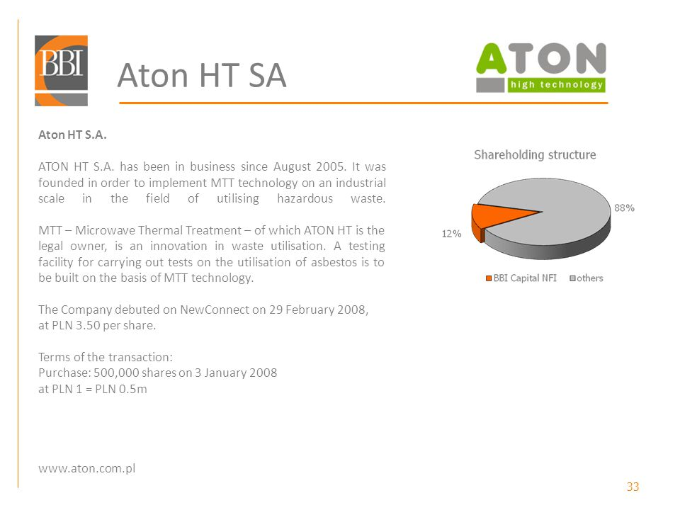 33 Aton HT SA Aton HT S.A. ATON HT S.A. has been in business since August 2005.