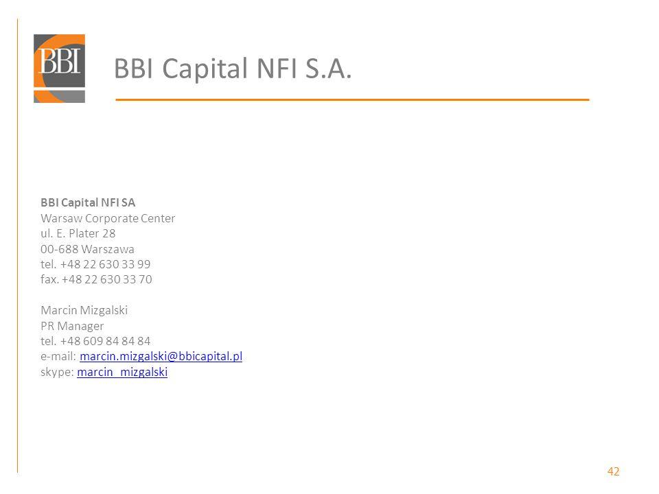 42 BBI Capital NFI S.A. BBI Capital NFI SA Warsaw Corporate Center ul. E. Plater 28 00-688 Warszawa tel. +48 22 630 33 99 fax. +48 22 630 33 70 Marcin
