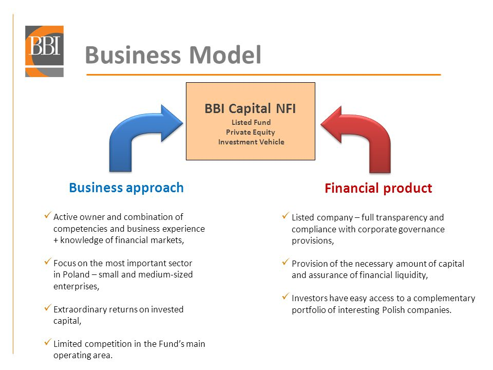 40 Strategic development directions BBI Capital NFI SA means: A combination of an active VC/PE investor and an experienced entrepreneur, Actively seeking new investment projects and new market niches, More than six new projects annually, Maximising the ROI is the chief consideration in project selection, ROE no less than 30% p.a., Ensuring an appropriate level of security.