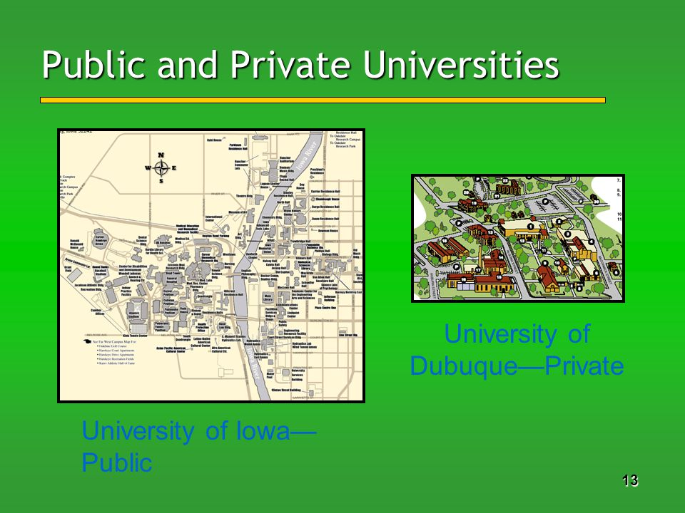 13 Public and Private Universities University of Iowa Public University of DubuquePrivate