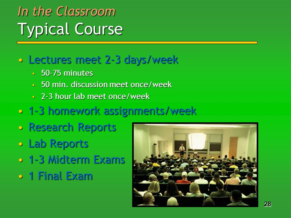 28 In the Classroom Typical Course Lectures meet 2-3 days/weekLectures meet 2-3 days/week 50-75 minutes 50-75 minutes 50 min.