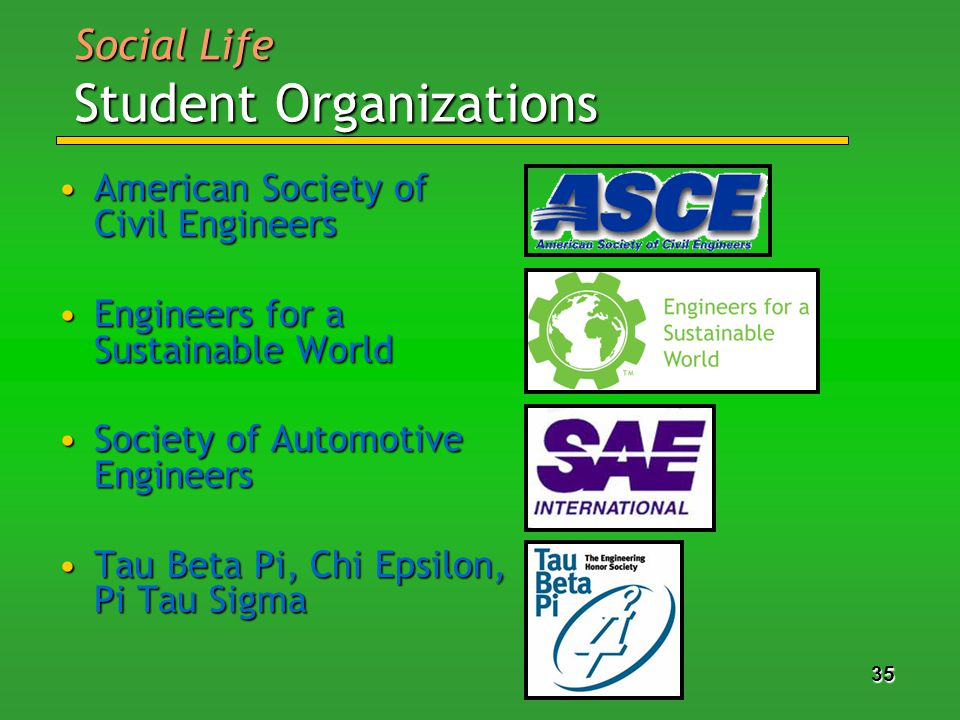 35 American Society of Civil EngineersAmerican Society of Civil Engineers Engineers for a Sustainable WorldEngineers for a Sustainable World Society of Automotive EngineersSociety of Automotive Engineers Tau Beta Pi, Chi Epsilon, Pi Tau SigmaTau Beta Pi, Chi Epsilon, Pi Tau Sigma Social Life Student Organizations