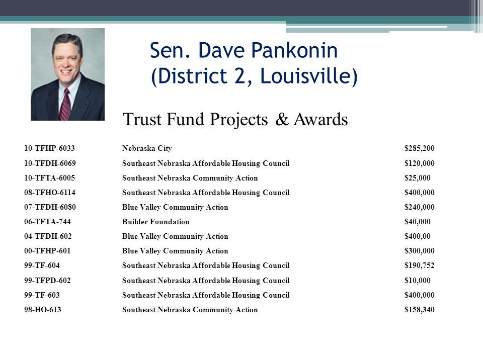 Sen. Dave Pankonin (District 2, Louisville) 10-TFHP-6033Nebraska City$285,200 10-TFDH-6069Southeast Nebraska Affordable Housing Council$120,000 10-TFT