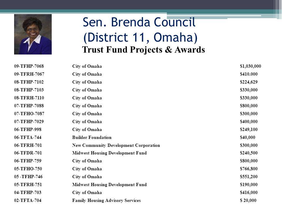 Sen. Brenda Council (District 11, Omaha) 09-TFHP-7068City of Omaha$1,030,000 09-TFRH-7067City of Omaha$410.000 08-TFHP-7102City of Omaha$224,629 08-TF