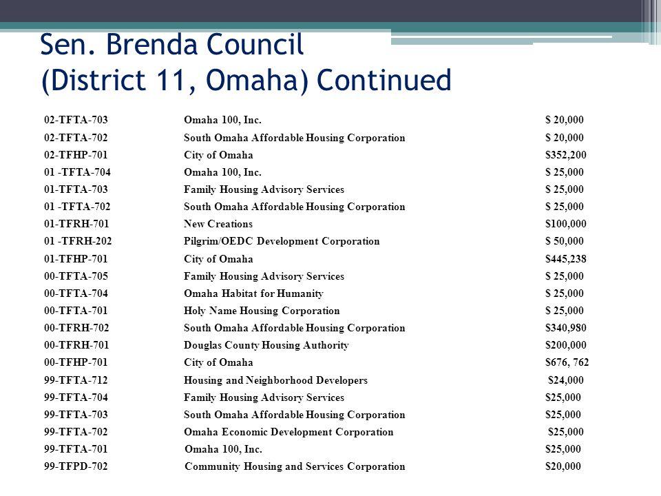 Sen. Brenda Council (District 11, Omaha) Continued 02-TFTA-703Omaha 100, Inc.$ 20,000 02-TFTA-702South Omaha Affordable Housing Corporation$ 20,000 02