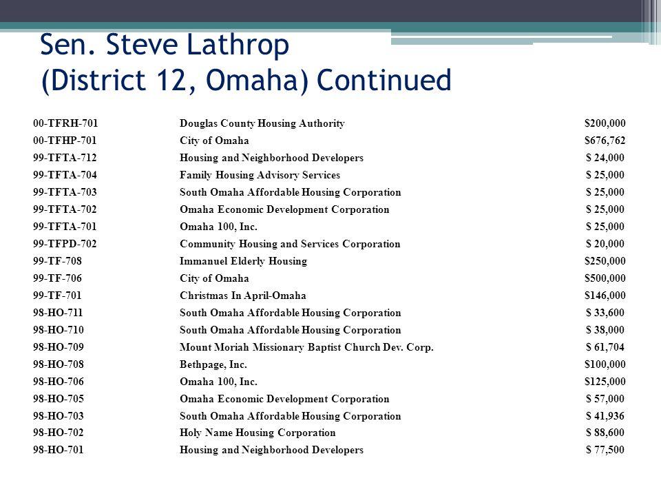 Sen. Steve Lathrop (District 12, Omaha) Continued 00-TFRH-701Douglas County Housing Authority$200,000 00-TFHP-701City of Omaha$676,762 99-TFTA-712Hous