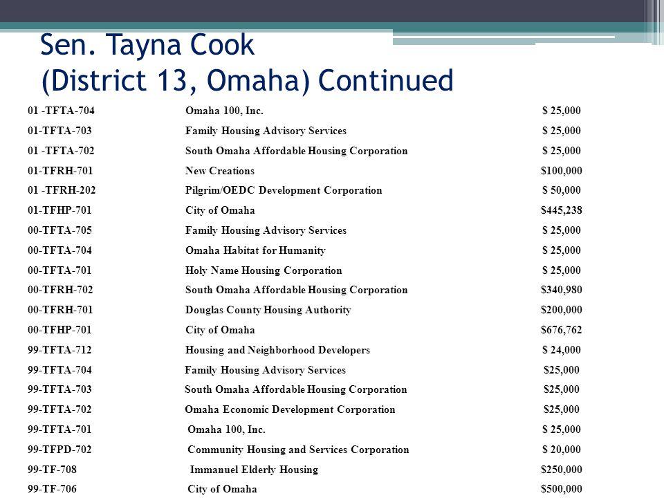 Sen. Tayna Cook (District 13, Omaha) Continued 01 -TFTA-704Omaha 100, Inc.$ 25,000 01-TFTA-703Family Housing Advisory Services$ 25,000 01 -TFTA-702Sou
