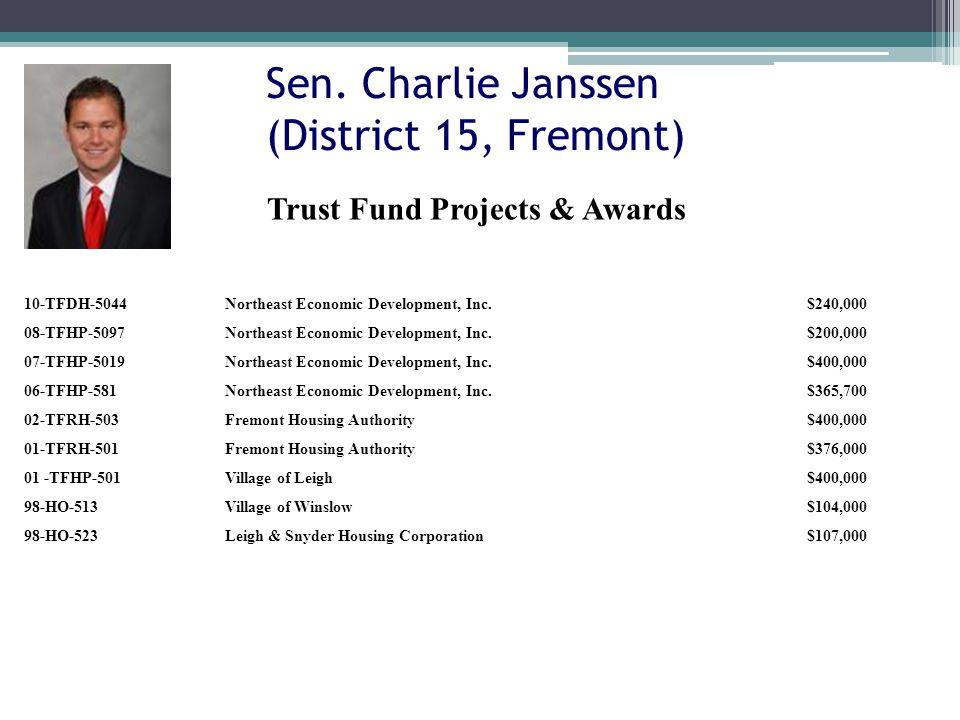 Sen. Charlie Janssen (District 15, Fremont) 10-TFDH-5044Northeast Economic Development, Inc.$240,000 08-TFHP-5097Northeast Economic Development, Inc.$