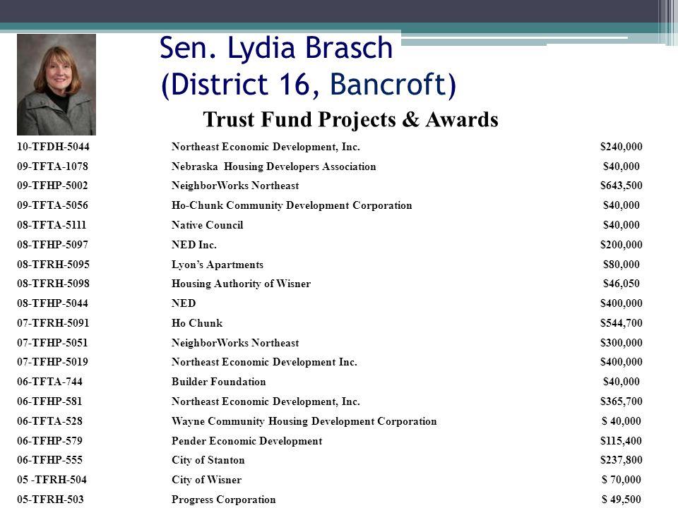 Sen. Lydia Brasch (District 16, Bancroft) 10-TFDH-5044Northeast Economic Development, Inc.$240,000 09-TFTA-1078Nebraska Housing Developers Association
