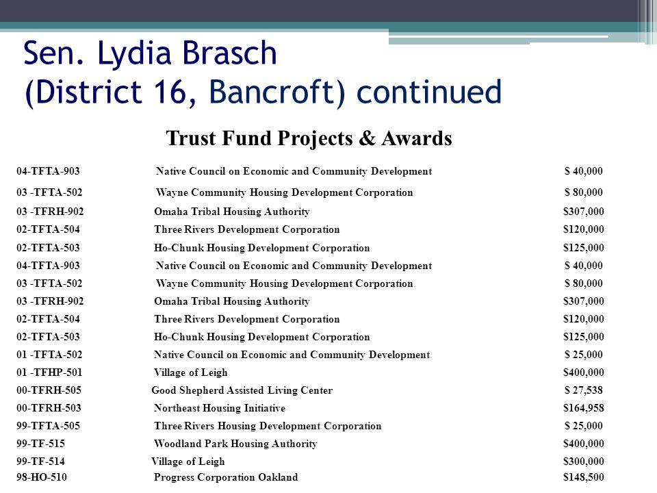 Sen. Lydia Brasch (District 16, Bancroft) continued 04-TFTA-903Native Council on Economic and Community Development$ 40,000 03 -TFTA-502Wayne Communit