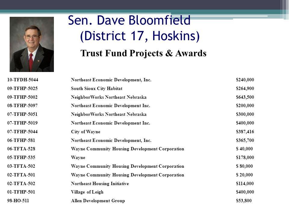 Sen. Dave Bloomfield (District 17, Hoskins) 10-TFDH-5044Northeast Economic Development, Inc.$240,000 09-TFHP-5025South Sioux City Habitat$264,900 09-T