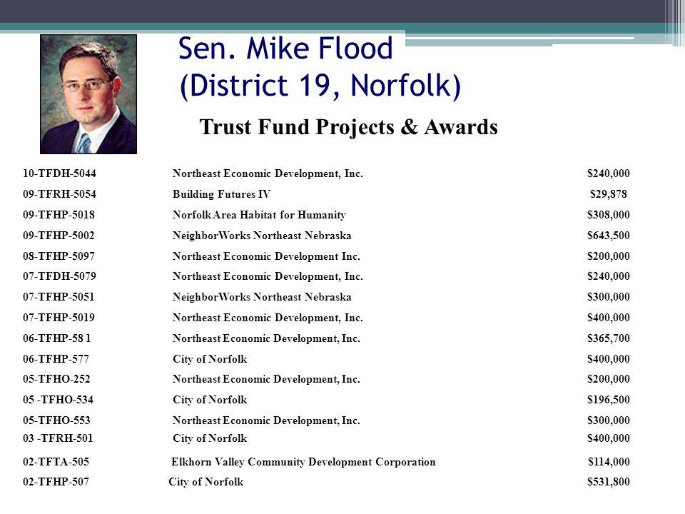 Sen. Mike Flood (District 19, Norfolk) 10-TFDH-5044Northeast Economic Development, Inc.$240,000 09-TFRH-5054Building Futures IV$29,878 09-TFHP-5018Nor