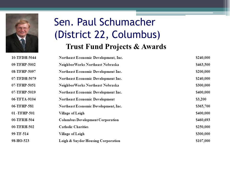 Sen. Paul Schumacher (District 22, Columbus) 10-TFDH-5044Northeast Economic Development, Inc.$240,000 09-TFHP-5002NeighborWorks Northeast Nebraska$463