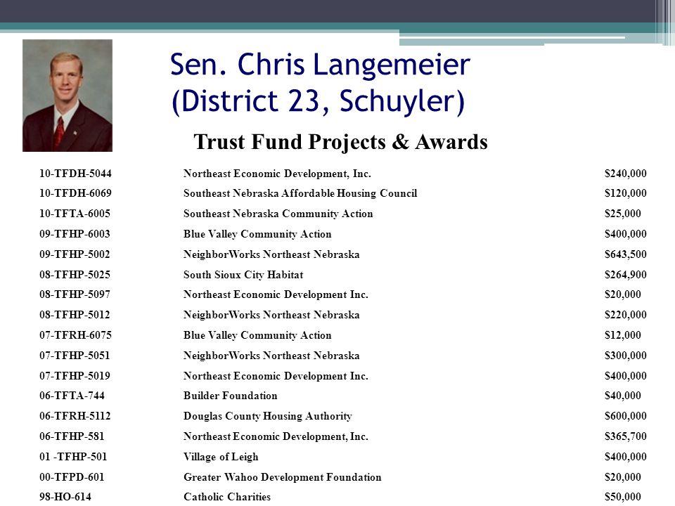 Sen. Chris Langemeier (District 23, Schuyler) 10-TFDH-5044Northeast Economic Development, Inc.$240,000 10-TFDH-6069Southeast Nebraska Affordable Housi