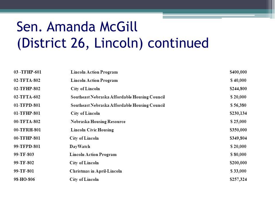Sen. Amanda McGill (District 26, Lincoln) continued 03 -TFHP-601 Lincoln Action Program$400,000 02-TFTA-802 Lincoln Action Program$ 40,000 02-TFHP-802