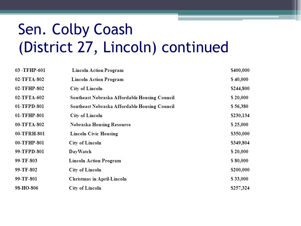 Sen. Colby Coash (District 27, Lincoln) continued 03 -TFHP-601Lincoln Action Program$400,000 02-TFTA-802 Lincoln Action Program$ 40,000 02-TFHP-802 Ci