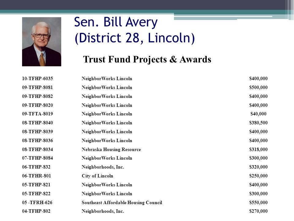 Sen. Bill Avery (District 28, Lincoln) 10-TFHP-6035NeighborWorks Lincoln$400,000 09-TFHP-8081NeighborWorks Lincoln$500,000 09-TFHP-8082NeighborWorks L