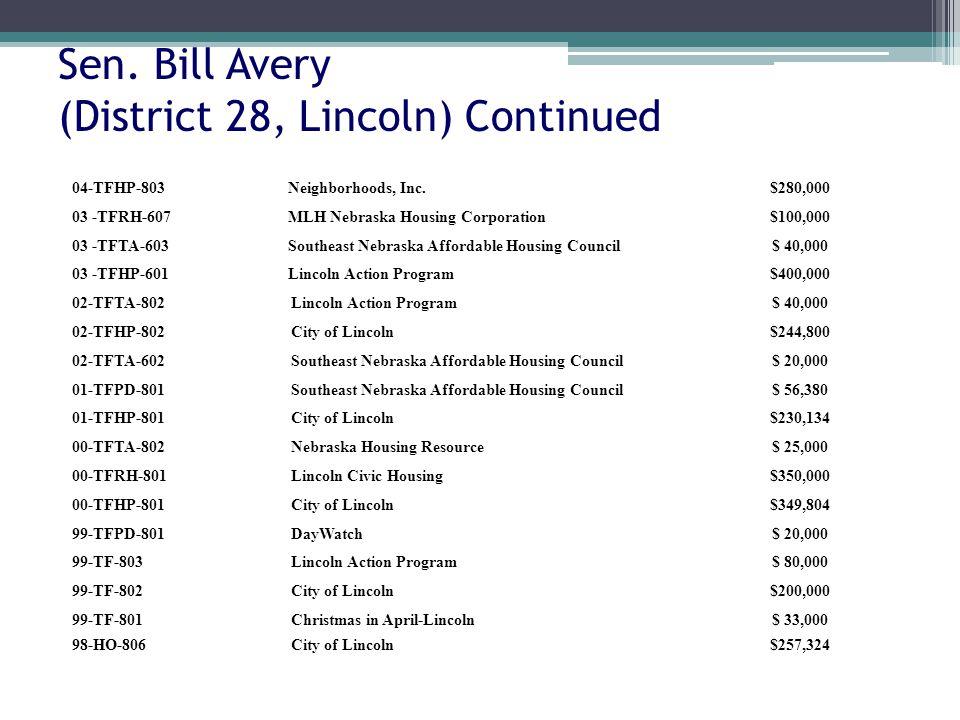 Sen. Bill Avery (District 28, Lincoln) Continued 04-TFHP-803Neighborhoods, Inc.$280,000 03 -TFRH-607MLH Nebraska Housing Corporation$100,000 03 -TFTA-