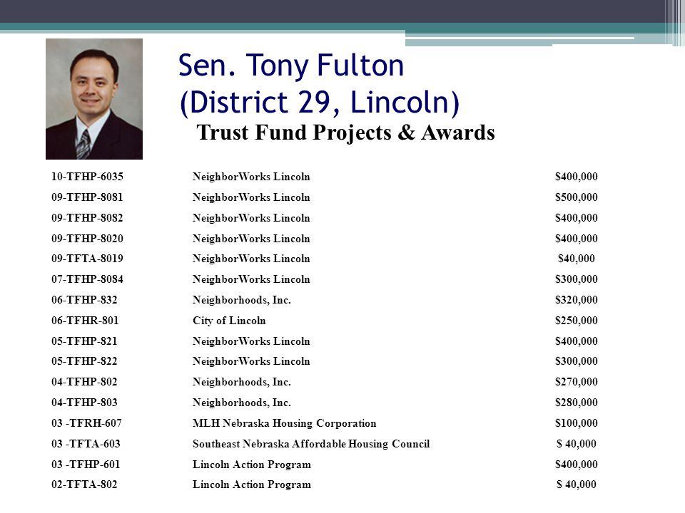 Sen. Tony Fulton (District 29, Lincoln) 10-TFHP-6035NeighborWorks Lincoln$400,000 09-TFHP-8081NeighborWorks Lincoln$500,000 09-TFHP-8082NeighborWorks