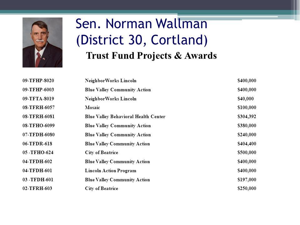 Sen. Norman Wallman (District 30, Cortland) 09-TFHP-8020NeighborWorks Lincoln$400,000 09-TFHP-6003Blue Valley Community Action$400,000 09-TFTA-8019Nei