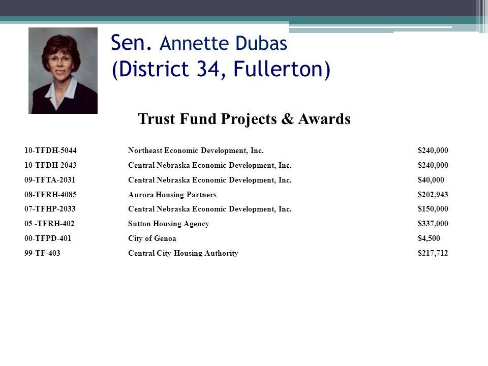Sen. Annette Dubas (District 34, Fullerton) 10-TFDH-5044Northeast Economic Development, Inc.$240,000 10-TFDH-2043Central Nebraska Economic Development
