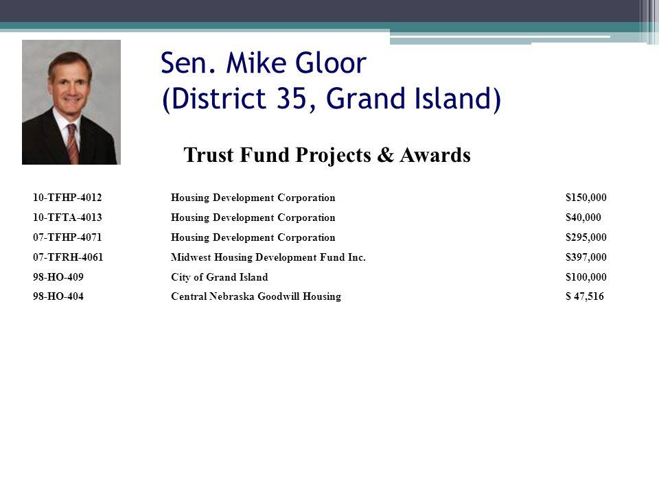 Sen. Mike Gloor (District 35, Grand Island) 10-TFHP-4012Housing Development Corporation$150,000 10-TFTA-4013Housing Development Corporation$40,000 07-