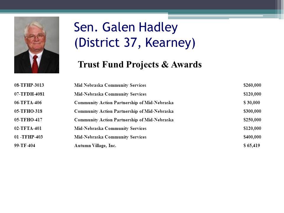 Sen. Galen Hadley (District 37, Kearney) 08-TFHP-3013Mid Nebraska Community Services$260,000 07-TFDH-4081Mid-Nebraska Community Services$120,000 06-TF