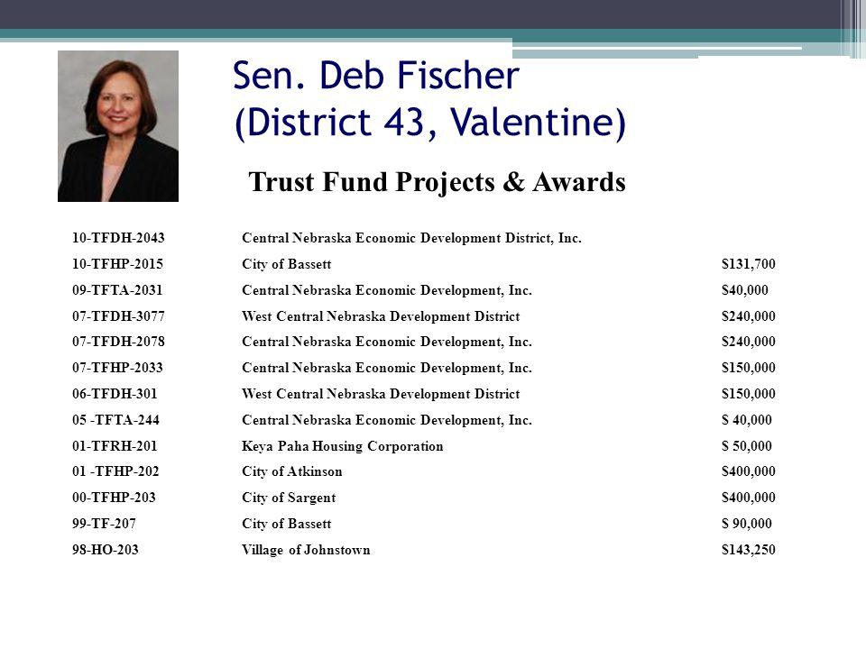 Sen. Deb Fischer (District 43, Valentine) 10-TFDH-2043Central Nebraska Economic Development District, Inc. 10-TFHP-2015City of Bassett$131,700 09-TFTA