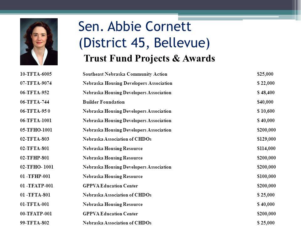 Sen. Abbie Cornett (District 45, Bellevue) Trust Fund Projects & Awards 10-TFTA-6005Southeast Nebraska Community Action$25,000 07-TFTA-9074Nebraska Ho