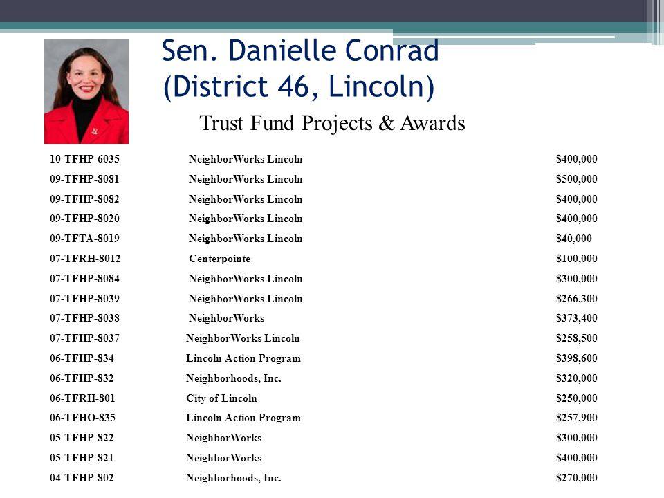 Sen. Danielle Conrad (District 46, Lincoln) 10-TFHP-6035 NeighborWorks Lincoln$400,000 09-TFHP-8081 NeighborWorks Lincoln$500,000 09-TFHP-8082 Neighbo