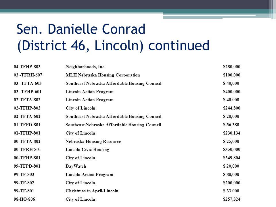 Sen. Danielle Conrad (District 46, Lincoln) continued 04-TFHP-803Neighborhoods, Inc.$280,000 03 -TFRH-607MLH Nebraska Housing Corporation$100,000 03 -