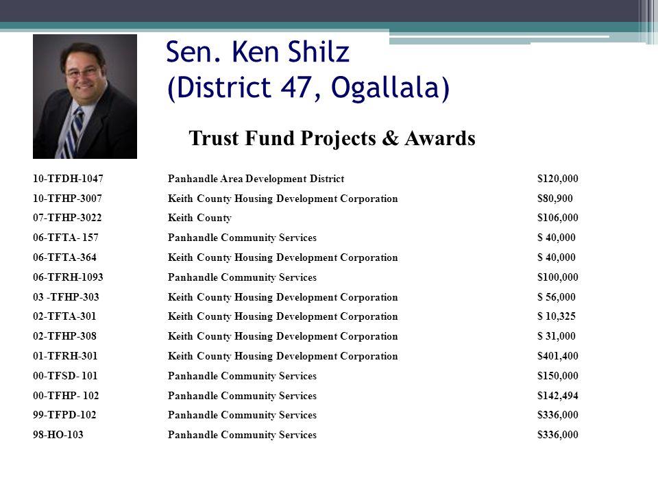 Sen. Ken Shilz (District 47, Ogallala) 10-TFDH-1047Panhandle Area Development District$120,000 10-TFHP-3007Keith County Housing Development Corporatio
