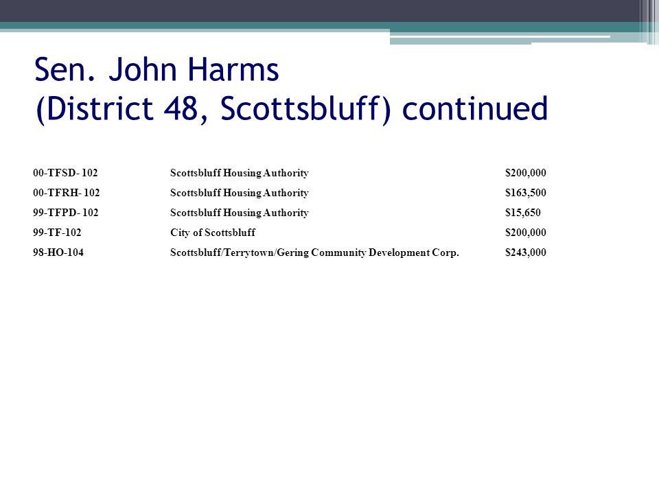 Sen. John Harms (District 48, Scottsbluff) continued 00-TFSD- 102Scottsbluff Housing Authority$200,000 00-TFRH- 102Scottsbluff Housing Authority$163,5