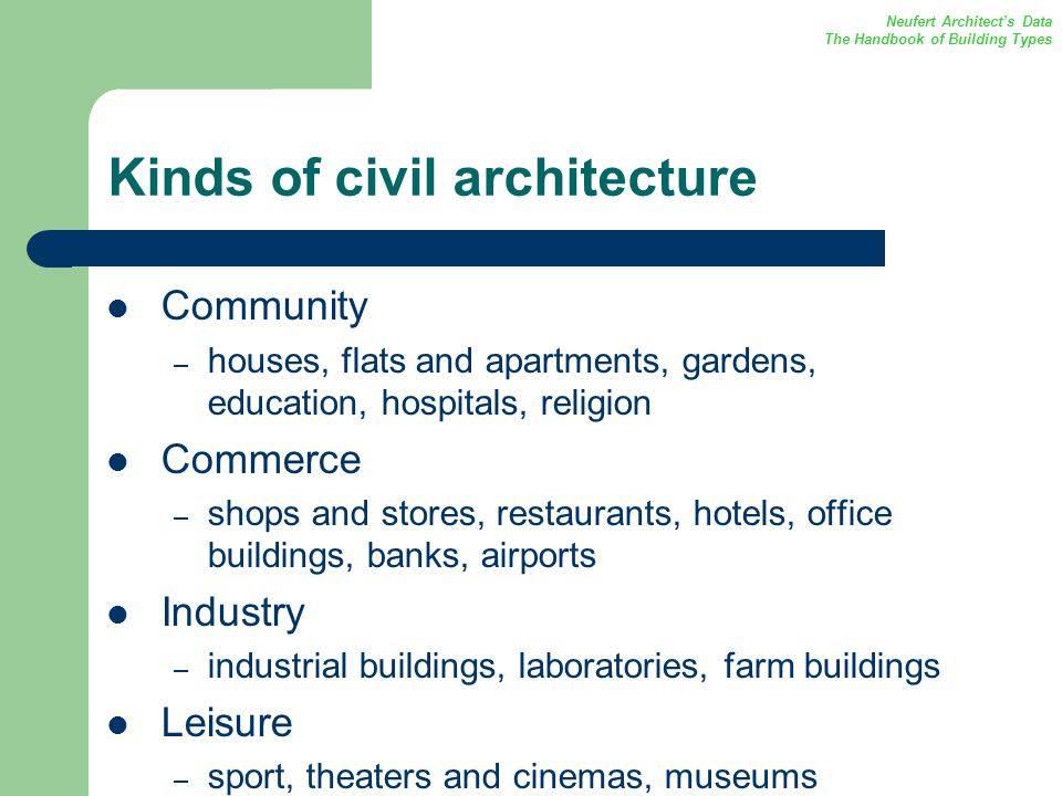 Kinds of civil architecture Community – houses, flats and apartments, gardens, education, hospitals, religion Commerce – shops and stores, restaurants, hotels, office buildings, banks, airports Industry – industrial buildings, laboratories, farm buildings Leisure – sport, theaters and cinemas, museums Neufert Architects Data The Handbook of Building Types
