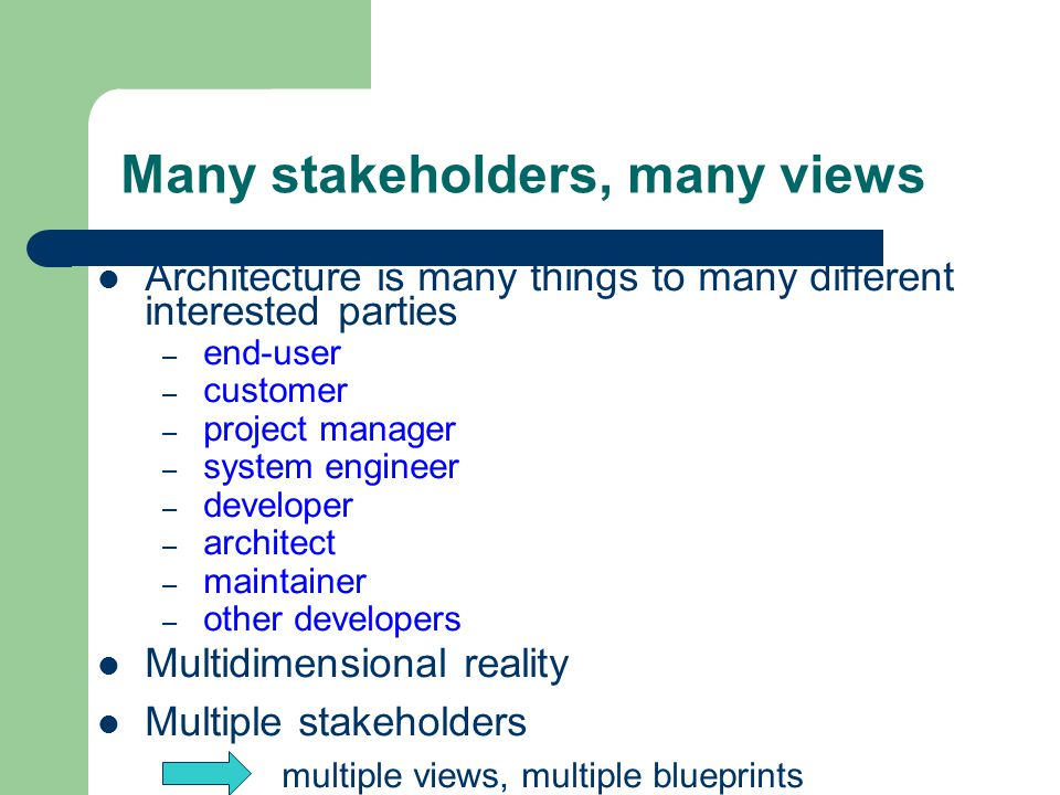 Many stakeholders, many views Architecture is many things to many different interested parties – end-user – customer – project manager – system engineer – developer – architect – maintainer – other developers Multidimensional reality Multiple stakeholders multiple views, multiple blueprints