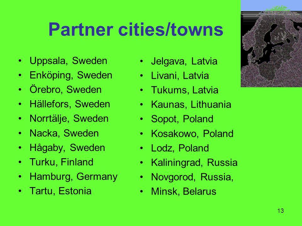 13 Partner cities/towns Uppsala, Sweden Enköping, Sweden Örebro, Sweden Hällefors, Sweden Norrtälje, Sweden Nacka, Sweden Hågaby, Sweden Turku, Finlan
