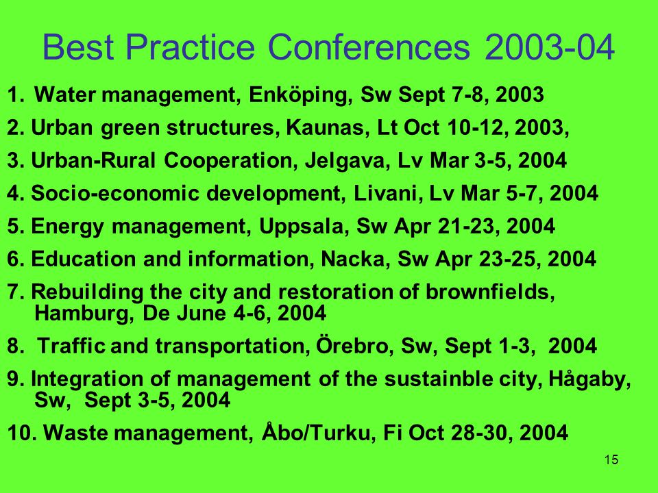 15 Best Practice Conferences 2003-04 1.Water management, Enköping, Sw Sept 7-8, 2003 2. Urban green structures, Kaunas, Lt Oct 10-12, 2003, 3. Urban-R
