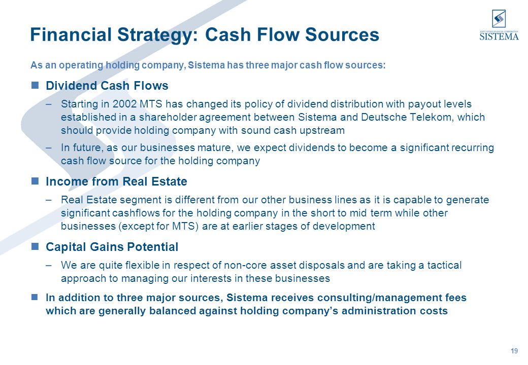 19 Financial Strategy: Cash Flow Sources As an operating holding company, Sistema has three major cash flow sources: Dividend Cash Flows –Starting in 2002 MTS has changed its policy of dividend distribution with payout levels established in a shareholder agreement between Sistema and Deutsche Telekom, which should provide holding company with sound cash upstream –In future, as our businesses mature, we expect dividends to become a significant recurring cash flow source for the holding company Income from Real Estate –Real Estate segment is different from our other business lines as it is capable to generate significant cashflows for the holding company in the short to mid term while other businesses (except for MTS) are at earlier stages of development Capital Gains Potential –We are quite flexible in respect of non-core asset disposals and are taking a tactical approach to managing our interests in these businesses In addition to three major sources, Sistema receives consulting/management fees which are generally balanced against holding companys administration costs