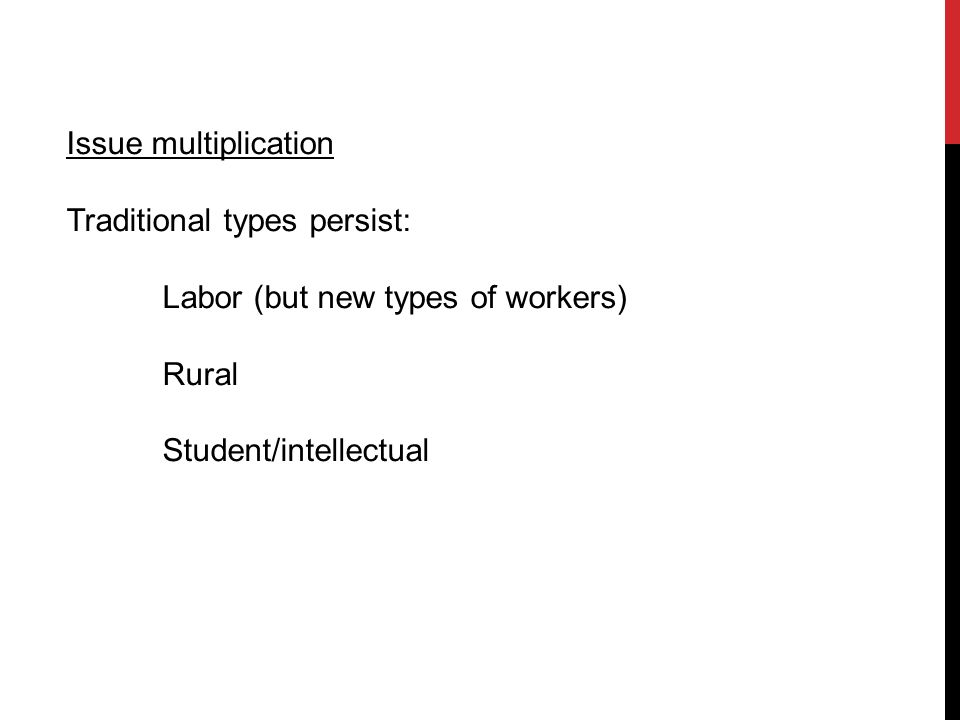 Issue multiplication Traditional types persist: Labor (but new types of workers) Rural Student/intellectual
