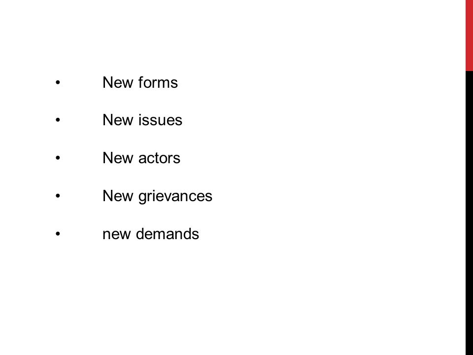 New forms New issues New actors New grievances new demands