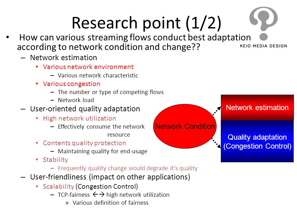 Research point (1/2) How can various streaming flows conduct best adaptation according to network condition and change?? – Network estimation Various