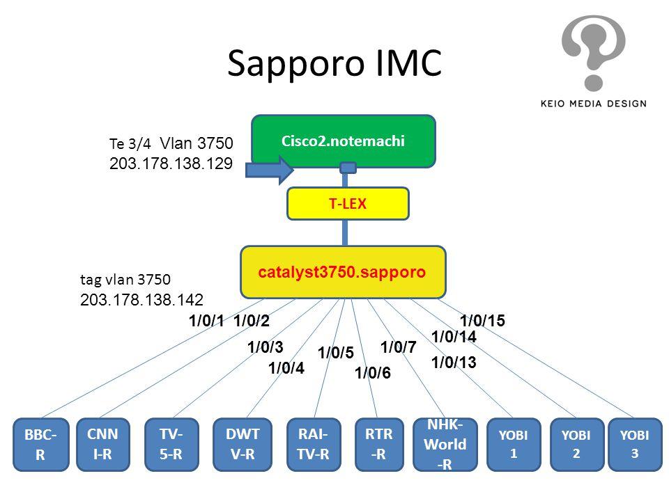 Sapporo IMC catalyst3750.sapporo BBC- R tag vlan 3750 203.178.138.142 CNN I-R TV- 5-R DWT V-R RAI- TV-R RTR -R NHK- World -R YOBI 1 YOBI 2 YOBI 3 1/0/