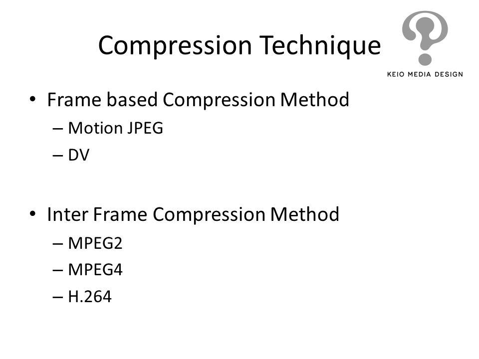 Frame based Compression Method – Motion JPEG – DV Inter Frame Compression Method – MPEG2 – MPEG4 – H.264