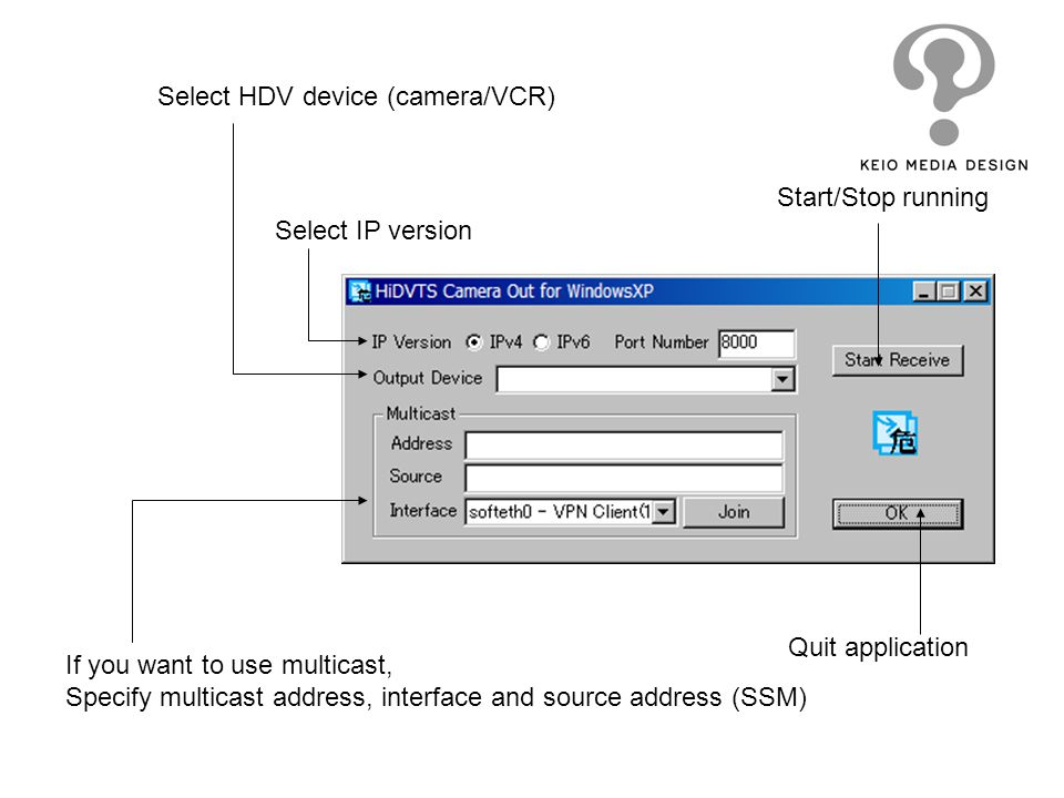 Start/Stop running Quit application Select IP version Select HDV device (camera/VCR) If you want to use multicast, Specify multicast address, interfac