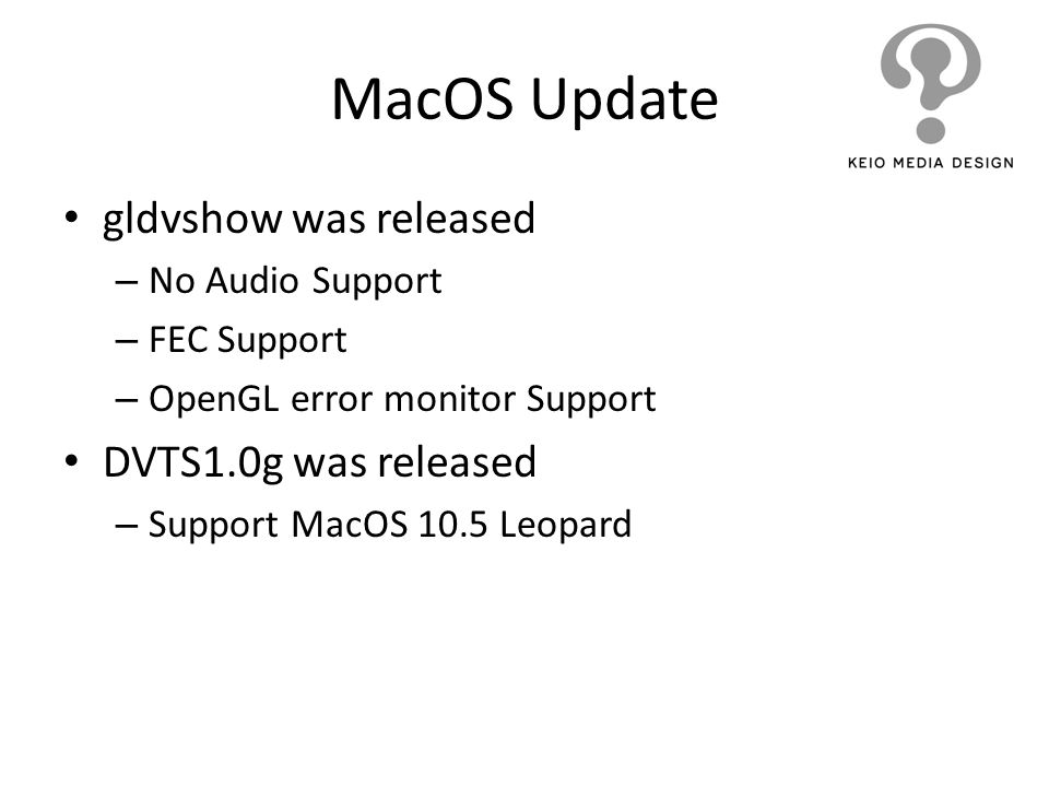 MacOS Update gldvshow was released – No Audio Support – FEC Support – OpenGL error monitor Support DVTS1.0g was released – Support MacOS 10.5 Leopard