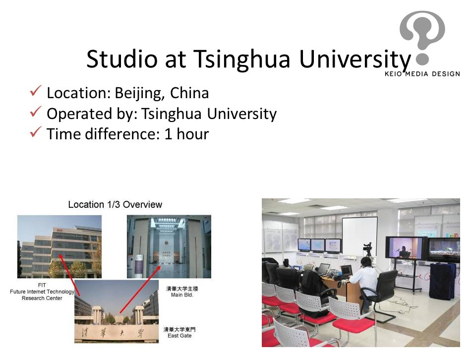 Studio at Tsinghua University Location: Beijing, China Operated by: Tsinghua University Time difference: 1 hour