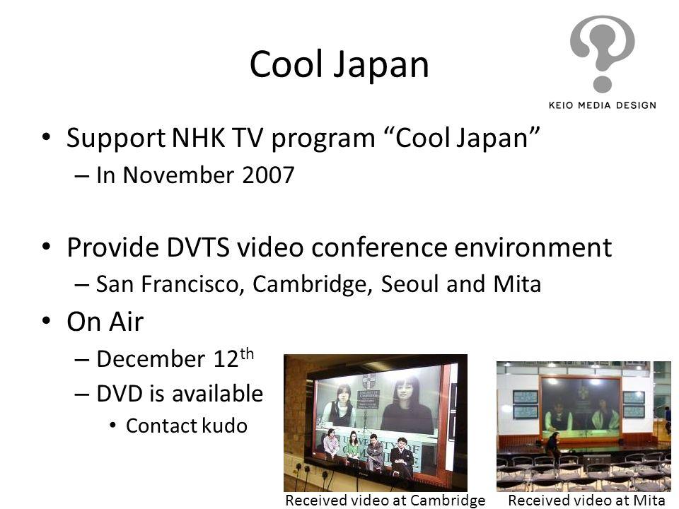 Cool Japan Support NHK TV program Cool Japan – In November 2007 Provide DVTS video conference environment – San Francisco, Cambridge, Seoul and Mita O